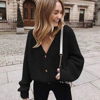 Zoki Women Knitted Cardigans Sweater Fashion Autumn Long Sleeve Loose Coat Casual Button Thick V Neck Solid Female Tops 2020