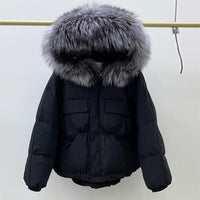 Huge Natural Raccoon Fox Fur Hooded 2020 Winter Down Coat Women Waterproof White Duck Down Jacket Puffer Female Feather Parkas