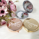 Personalized Bridesmaid Gift Simple Metal Compact Makeup Mirror Portable Double-Sided Folding Mirror Wedding and Christmas Gift