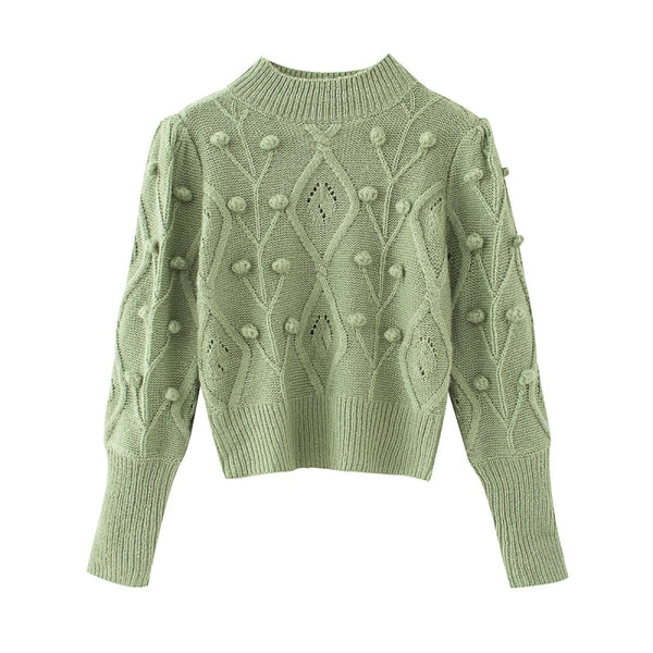 Vintage women elegant green sweaters 2020 fashion ladies knitted short pullovers casual female cute white sweater girls chic