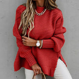 Women's Knitted Sweater Fashion Round Neck Lantern Long-Sleeved Pullover Blouse Ladies Winter Leisure Loose Slit Women Sweater