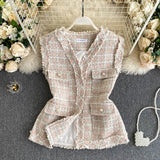 New ladies' temperament, fragrant and fragrant tweed jacket, ladies retro tooling, big pockets, short waistcoat, vest