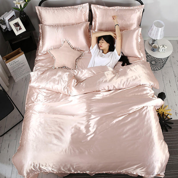 100% pure satin silk bedding set, solid color Home Textile King size bed set,bedclothes,duvet cover flat sheet pillowcas Fashion