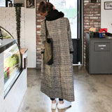 Autumn Winter Cashmere Trench Jacket Women long Casual Plaid Coat Thickness Warm Woolen Coat Button Pocket Jackets outwear