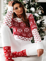 Women Autumn Winter Christmas Sweater Ladies Knitted Jumper Pullover Women Sweater Snowflake Elk Print Sweaters And Pullovers