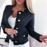 Winter Women Warm Button-Down Cotton jacket Coats Women Casual Jackets Female Pockets Ruffle Slim Fit Short Jackets New Arrival