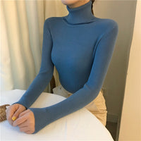 Turtleneck Pullovers Sweaters Women 2020 Autumn Winter Primer Shirt Long Sleeve Short Slim-fit tight Jumper Tops Solid