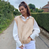 Sweetown Houndstooth Knit Oversized Sweater Vest Female England Preppy Style Y2K Jumpers V Neck Casual Loose 90s Knitwear Autumn