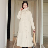 2020 winter X-long parka for women solid jackets slim thick hooded cotton padded coats oversized office ladies manteau femme