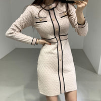 ZAWFL Autumn Winter Women Knitted Dress 2020 New Korean Long Sleeve O-Neck Bandage Sweater Clothing Elegant Ladies Dresses