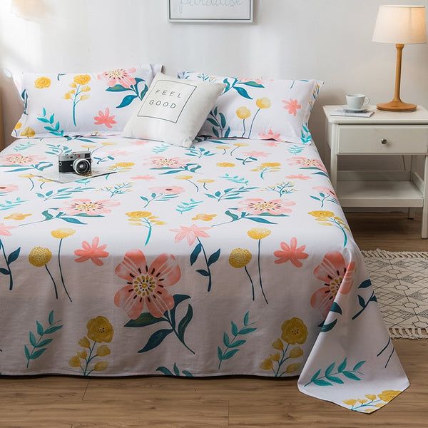 100% Cotton Cartoon Flower Flat Sheet For Children Adults Single Double Bed Flat Bedsheets (No Pillowcase) XF704-38