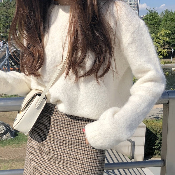 New Winter Sweater Women Pullover Girls Tops Knitting Vintage Long Sleeve Autumn Elegant Female Knitted Outerwear Warm Sweater