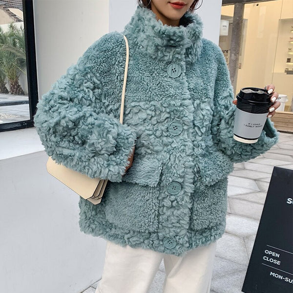 Ptslan 2020 Genuine Wool Soft Winter Button Stand Collar Jackets Real Shearing Sheep fur Coats Winter Patch PocketP5859