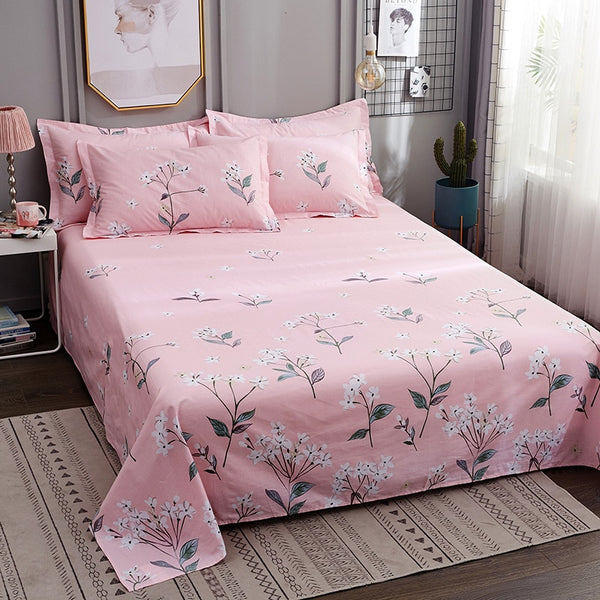 Floral Print Flat Sheet For Children Adults Single Double Bed Cotton Flat Bedsheets (No Pillowcase) XF716-29