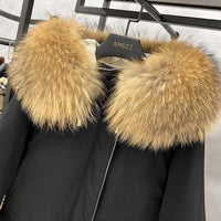 Large Natural Raccoon Fox Fur Hooded Winter Down Coat Women 90% White Duck Down Jacket Thick Warm Parkas Female Outerwear
