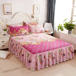 3pcs Floral Fitted Sheet Cover Bedspread Bedroom Bed Cover Skirt Housewarming Bedcover Single Full Queen Bedspread Bed Sheets