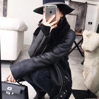 Ailegogo 2020 Winter Coats Women Thick Faux Leather Fur Sheepskin Coat Female Fur Leather Jacket Aviator Jacket Casaco Feminino