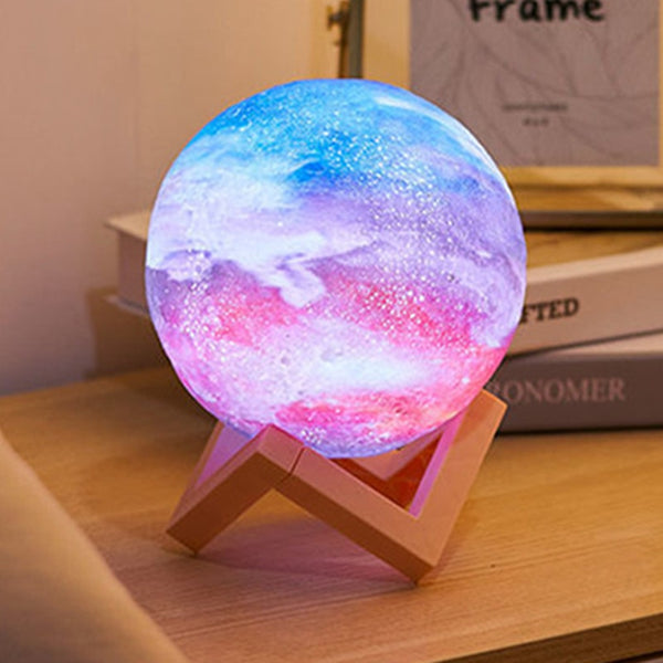 Romantic Love Gift for Girlfriend 7 Color Change 3D Printing Starry Moon Lamp Anniversary Present Valentines Day Gift