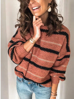New Women Autumn Long Sleeve Sweater Loose Fashion Patchwork O-neck Sweater Winter Pullover Sexy Tops S-2XL Female top Jumper