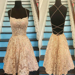 Unique Spaghetti Straps Crisscross Back A-Line Short Homecoming Dresses, Gold Lace Homecoming Dresses cg04