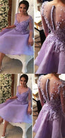 Gorgeous Lavender Scoop Neckline Covered Buttons 3/4 Sleeves Knee-Length ,short Homecoming Dresses cg07