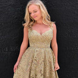 Unique V-Neck Sleeveless V-Back Gold Lace Homecoming Dresses,  Homecoming Dresses cg08