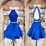 Sparkly Royal Blue Halter Two Piece Homecoming Dresses, cute Homecoming Dresses cg09