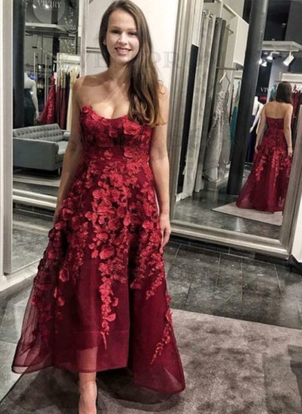 A-Line Sweetheart High Low Burgundy Prom Dress    cg10010