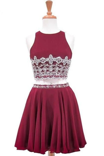 Sweet Party A-Line Scoop Neck Sleeveless Beaded Crystals Burgundy Chiffon Two Piece Short Homecoming Dresses  cg10031