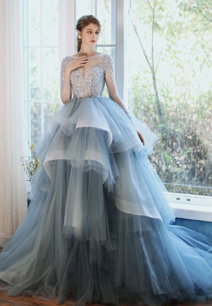 BLUE ROUND NECK TULLE SEQUIN LONG PROM GOWN BLUE FORMAL DRESS  cg10033