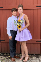 lavender satin A-line short homecoming dress  cg10038