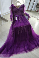 purple tulle long evening dress with long sleeves and lace appliques prom gowns for girls  cg10041