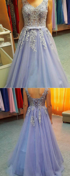 appliqued blue tulle prom dress, long lace appliqued formal dress cg10048
