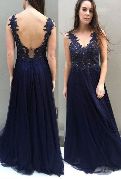 navy blue prom dresses, prom dresses backless, prom dresses with appliques   cg10059