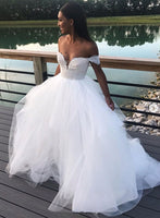 White lace tulle long prom dress, formal dress cg1005