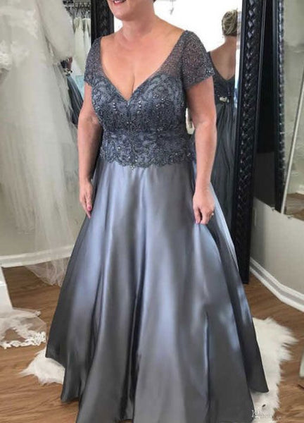 A Line V Neck Short Sleeves Mother's Prom Dress  cg10065