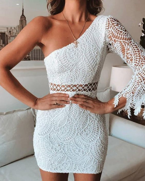 One Shoulder Lace Mini Dress White Homecoming Dresses   cg10066