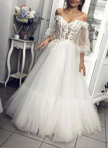 White tulle lace long prom dress, white evening dress 1006