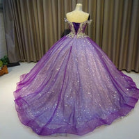 Purple Off The Shoulder Ball Gown , Bling Bling Prom Dress   cg10071