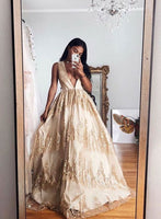 Gorgeous A Line V Neck Champagne Long Prom Dresses with Appliques   cg10073