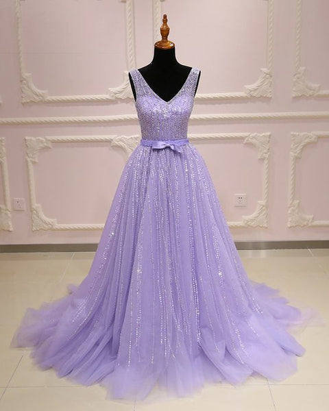 Lavender tulle V neck long customize A-line sequins senior prom dress with bowknot   cg10074