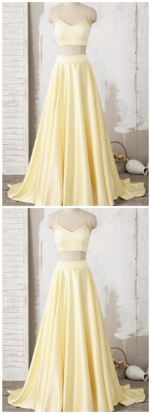 Yellow Two Piece Halter Lace Satin Long Prom Dress   cg10078