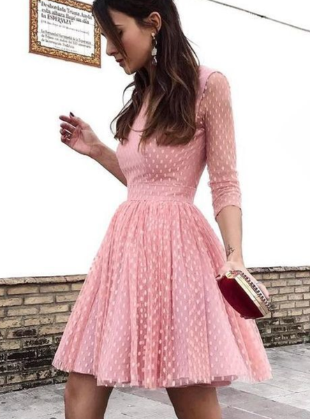 Pink Round Neck Long Sleeves Open Back Homecoming Dresses Cocktail Dresses  cg10083