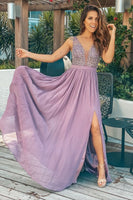 Mauve Sequin Top Maxi Dress with Side Slit Prom Dresses   cg10089