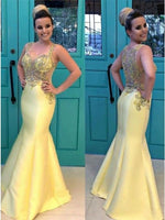 Mermaid Square Neck Floor-Length Yellow Satin Prom Dress with Beading    cg10092