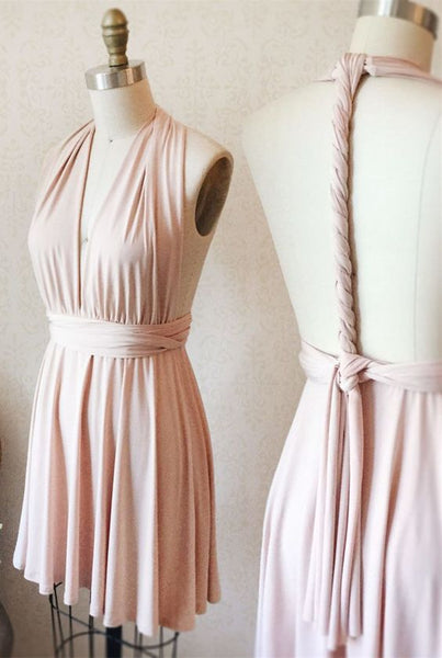 short pink bridesmaid dress, wedding dress, v neck bridesmaid dress, wedding party dress Homecoming Dresses   cg10093