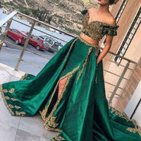 Green two pieces lace appliques beading sequins side slit Prom Dresses with Pockets   cg10098