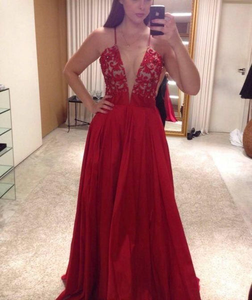 Sexy Spaghetti Straps V Neck Long Prom Dresses Evening Dresses for Women   cg10111
