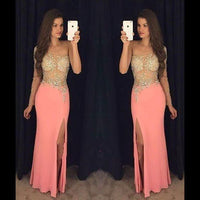 crystals evening dresses long sleeve mermaid coral sheer top sexy formal prom dresses   cg10113