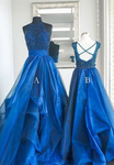 Blue high neck tulle beads long prom dress, blue evening dress, blue formal dress cg1011